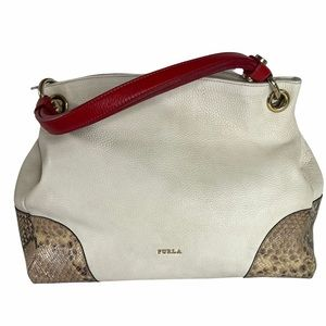 Furla Cream Pebbled Leather Satchel Handbag